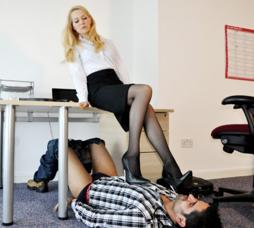 Femdom facesitting and chastity teasing with strapon 5
